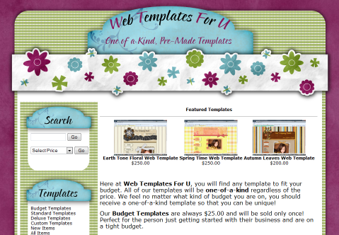 Website Templates, Pre-Made One of a Kind Templates, ECommerce Web Templates
